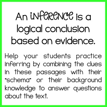 FREEBIE! Inference Passages {read, use evidence + schema and infer}
