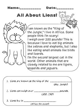 FREEBIE!!! Informational Text- All about lions (Informational Text)