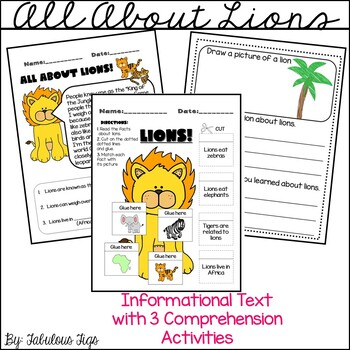 FREEBIE!!! Informational Text- All about lions (Informatio