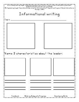 FREEBIE Informational Writing Template- LeadersllLeaders