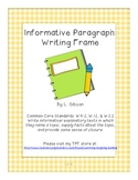 FREEBIE Informative Paragraph Writing Frame (Primary)