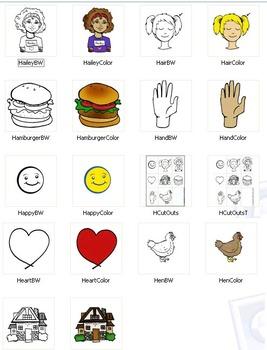 "FREEBIE: Initial ""H"" Kindergarten Clip-Art! 8 BW, 8 Color, 1 Cut-Out Sheet"