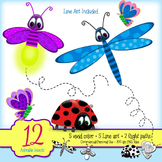 FREEBIE - Adorable Insects Clipart - Lady Bug, Dragonfly, Firefly, Butterflies