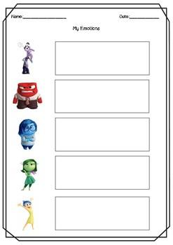 FREEBIE - Inside Out Emotions Worksheets