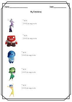 FREEBIE - Inside Out Emotions Worksheets