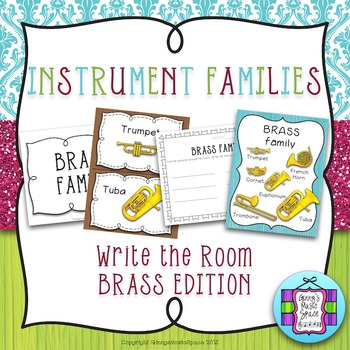FREEBIE Brass Edition of Instrument Families ~ Write the Room