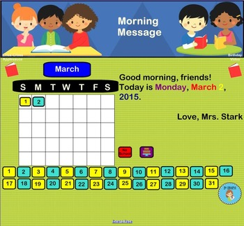 FREEBIE! Interactive Calendar for SMART Board PK, K, 1st