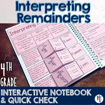 FREEBIE Interpreting Remainders Interactive Notebook & Quick Check TEKS 4.4H