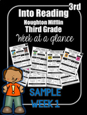 FREEBIE Into Reading Third Grade Week at a Glance Houghton