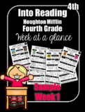 FREEBIE Into Reading Fourth Grade Week at a Glance Houghto