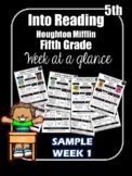 FREEBIE Into Reading Fifth Grade Week at a Glance Houghton