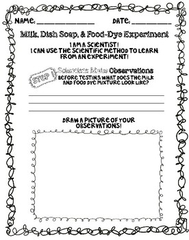 FREEBIE - Intro the Scientific Process with Milk, Food Dye, Soap Experiment