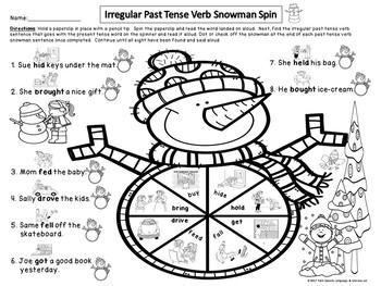 FREEBIE!! Irregular Past Tense Verb Snowmen Match Up + worksheets