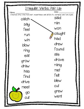 FREEBIE - Irregular Verbs: Pair Up Matching Print-and-Go Worksheet
