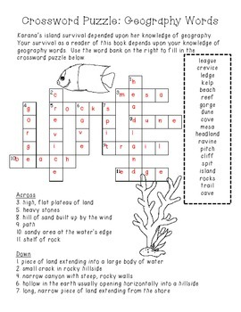 FREEBIE Island of the Blue Dolphins Crossword Puzzle