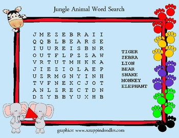 """FREEBIE"" Jungle Word Search"
