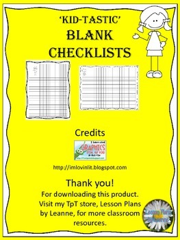 **FREEBIE**  'Kid-tastic' Blank Checklist