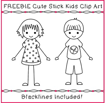 FREEBIE Kids Clipart - Cute Stick Kids Clipart Sample