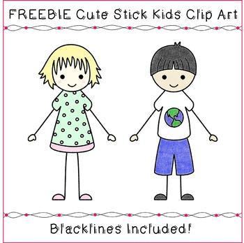 FREEBIE Kids Clipart - Cute Stick Kids Clipart Sample
