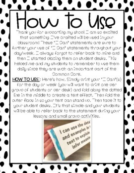 FREEBIE: I Can Statement Posters Kinder CC ELA {I Can Statement Desk Signs}