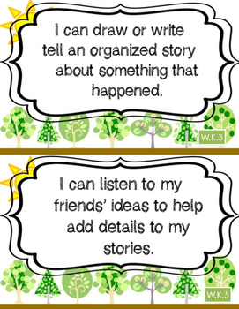 "FREEBIE: Kindergarten Common Core Writing ""I Can"" Statements"