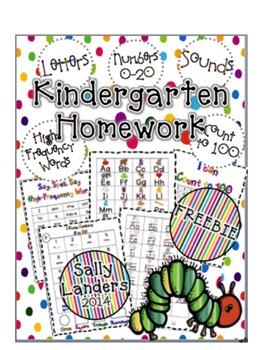 FREEBIE! Kindergarten Homework Packet {Phonics, High-Frequency Words & Math}
