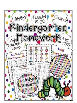 FREEBIE! Kindergarten Homework Packet {Phonics, High-Frequ