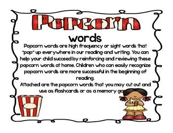 FREEBIE Kindergarten Pre-primer Popcorn Flashcards