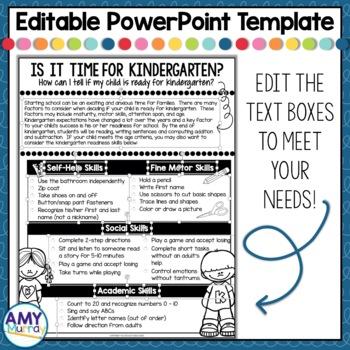 FREEBIE- Kindergarten Readiness Parent Information Flyer