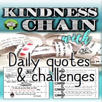 FREE SEL Character Education Kindness Chain Daily Quotes Challenges Custom Free Daily Quotes