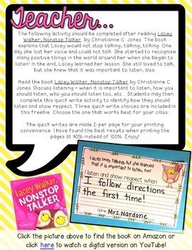 FREEBIE Lacey Walker, Nonstop Talker Quick Write