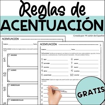 FREEBIE - Las reglas de ACENTUACION - Spanish ACCENTS