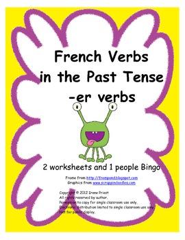 FREEBIE - Le passé composé - French -er Verbs - Worksheets for Grades 3, 4, 5, 6