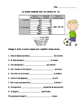 freebie le pass compos french er verbs worksheets for grades 3 4 5 6. Black Bedroom Furniture Sets. Home Design Ideas