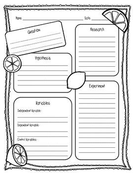 {FREEBIE} Lemon/Lime Lab Sheet (2 Pages) {Scientific Method Lab Sheet}