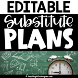 Sub Plans Template Editable | Substitute Binder Editable