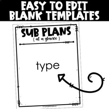 Sub Plans Template Editable   Substitute Binder Editable