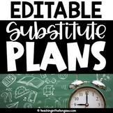 Sub Plans Template Editable | Substitute Binder