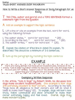 FREEBIE! Lesson on Short Answer Response Writing/Peer Editing