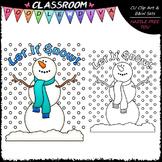 FREEBIE Let It Snow Clip Art - Snowman Clip Art & B&W Set