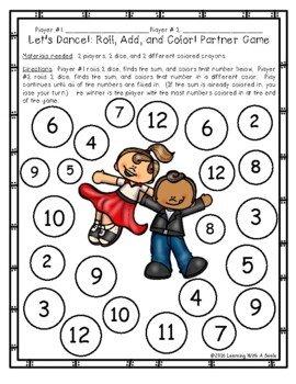 Addition Game FREE - Partner Game for Centers