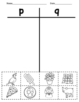 FREEBIE - Letters p and q Picture Sort