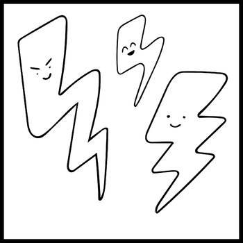 FREEBIE - Smiling Lightning Bolt clip art - 6 images
