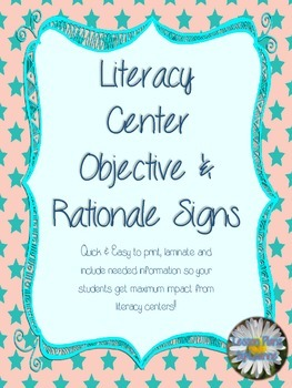 *FREEBIE*  Literacy Center Objective & Rationale Signs (su