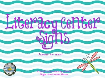 Literacy Center Signs - Summer Fun colors  Back To School