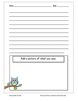 FREEBIE - Little Owl's Night Descriptive Writing Prompt