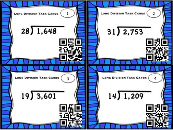 FREEBIE!! Long Division Task Cards with QR codes - 2 digit divisors