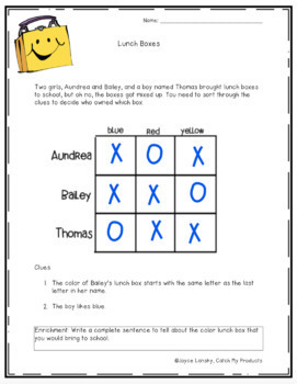 Logic Puzzle : Lunch Boxes
