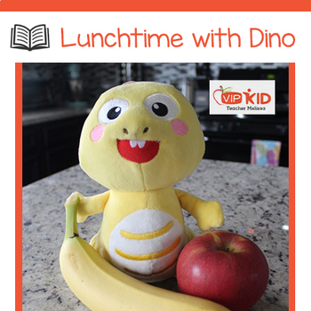 FREEBIE! (Black and white) Lunchtime with Dino storybook and flashcards