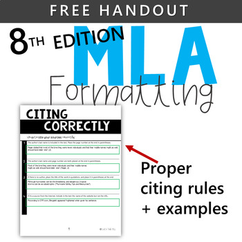 FREEBIE! MLA CITATION CHECKLIST